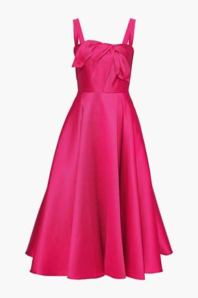 MARCHESA NOTTE Knotted satin-piqué midi dress