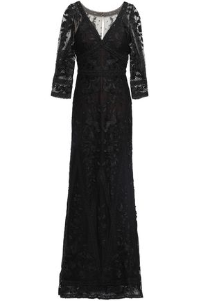 MARCHESA NOTTE Guipure lace-paneled embroidered tulle gown