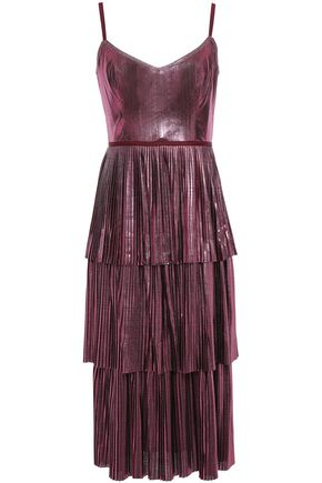 MARCHESA NOTTE Tiered metallic plissé-jersey midi dress