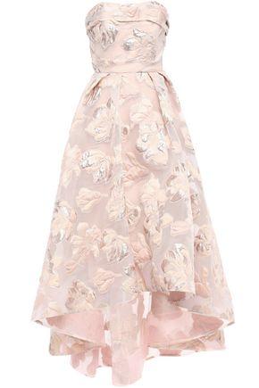 MARCHESA NOTTE Strapless asymmetric metallic fil coupé gown