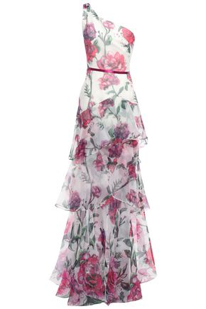 MARCHESA NOTTE ワンショルダー サテントリム フローラルプリントオーガンザ ロングドレス