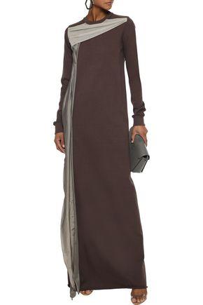 Rick Owens Dress RICK OWENS WOMAN DRAPED COTTON-JERSEY AND SHELL MAXI DRESS CHOCOLATE