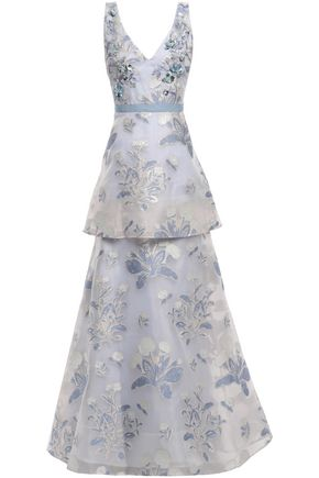 MARCHESA NOTTE Tiered embellished metallic fil coupé gown