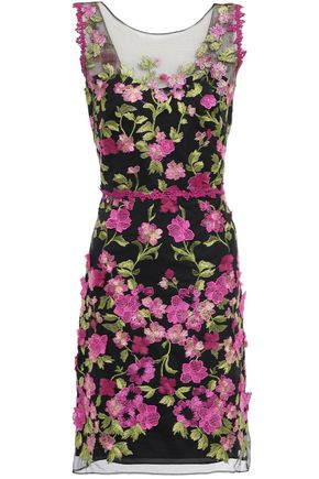 MARCHESA NOTTE Cutout floral-appliquéd embroidered tulle mini dress