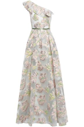 MARCHESA NOTTE One-shoulder pleated metallic fil coupé gown