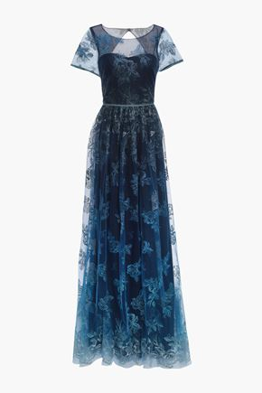 MARCHESA NOTTE Cutout gathered embroidered tulle gown
