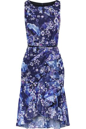 MARCHESA NOTTE Ruffled floral-print fil coupé chiffon dress