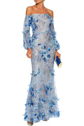 Marchesa Notte Woman Off-The-Shoulder Floral-AppliquéD Embroidered Tulle Gown Light Blue