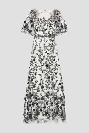 MARCHESA NOTTE Open-back embroidered tulle gown