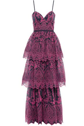 MARCHESA NOTTE Grosgrain-trimmed tiered embroidered organza gown