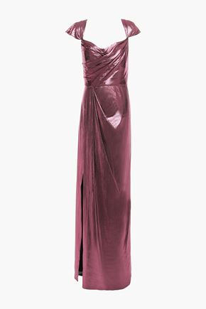 MARCHESA NOTTE Draped gathered lamé gown