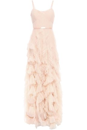 MARCHESA NOTTE Satin-trimmed pleated tulle gown