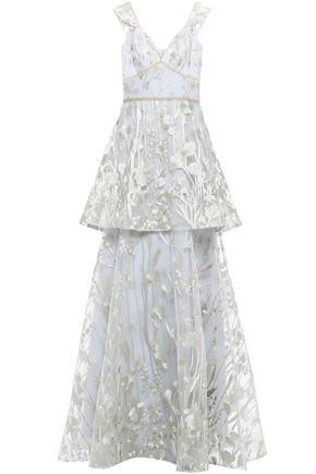 MARCHESA NOTTE Layered metallic embroidered tulle gown