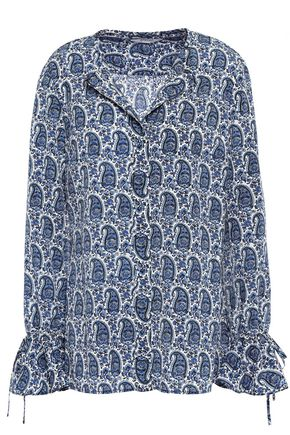 DEREK LAM 10 CROSBY Tie-detailed printed crepe de chine blouse