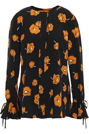 DEREK LAM 10 CROSBY Tie-detailed floral-print crepe de chine blouse