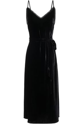 FRAME Belted frayed velvet midi slip dress