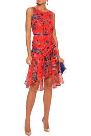 Marchesa Notte MARCHESA NOTTE WOMAN RUFFLED FLORAL-PRINT FIL COUPÉ CHIFFON DRESS PAPAYA