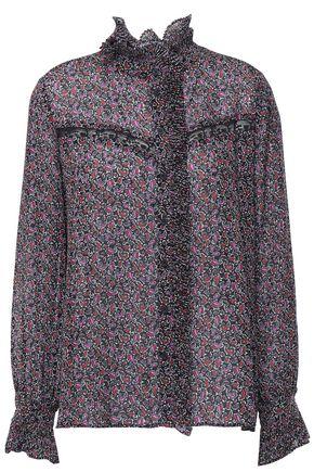 CLAUDIE PIERLOT Lace-trimmed printed crepe blouse