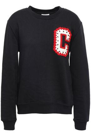 CLAUDIE PIERLOT Studded appliquéd cotton-blend fleece sweatshirt