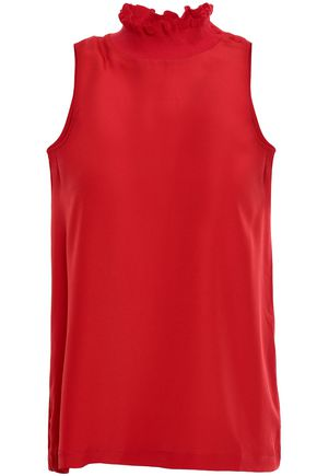 CLAUDIE PIERLOT Ruffle-trimmed crepe de chine and jersey top