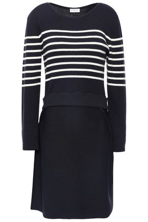 CLAUDIE PIERLOT Striped cotton-blend knitted dress