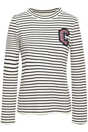 CLAUDIE PIERLOT Appliquéd striped knit-cotton top