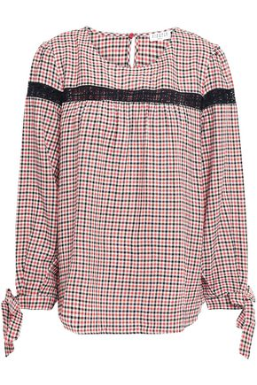 CLAUDIE PIERLOT Lace-trimmed checked woven blouse