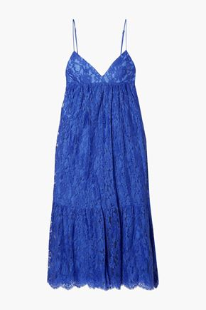 MICHAEL KORS COLLECTION Gathered cotton-blend Leavers lace midi slip dress