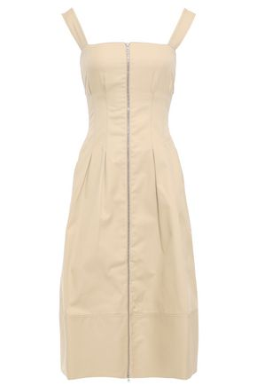 CASASOLA Pleated zip-detailed cotton-gabardine dress