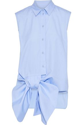 VICTORIA, VICTORIA BECKHAM Knotted cotton-chambray shirt