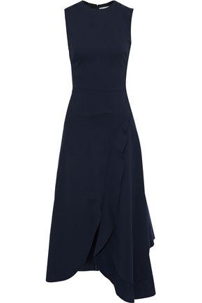 VICTORIA BECKHAM Asymmetric ruffled cady midi dress