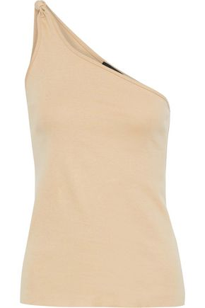 THE RANGE One-shoulder knotted linen-blend jersey top