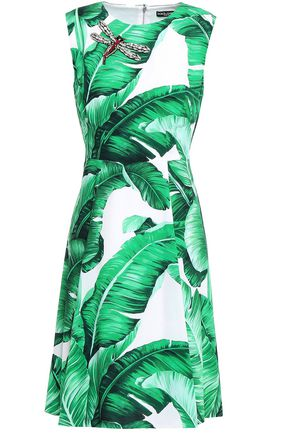 DOLCE & GABBANA Appliquéd printed crepe dress