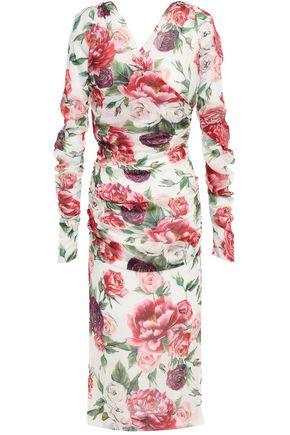 DOLCE & GABBANA Wrap-effect ruched floral-print silk-blend georgette midi dress