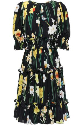DOLCE & GABBANA Ruffled floral-print silk crepe de chine dress