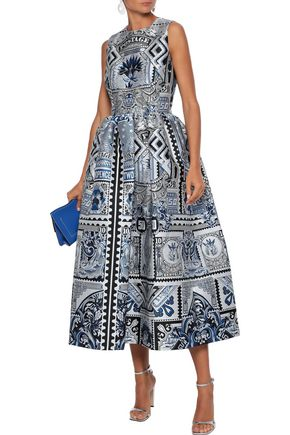 Mary Katrantzou Tops MARY KATRANTZOU WOMAN ASTERE FLARED JACQUARD GOWN BLUE
