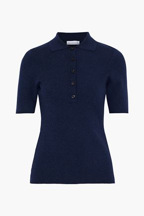 VICTORIA BECKHAM Brushed stretch-knit polo shirt