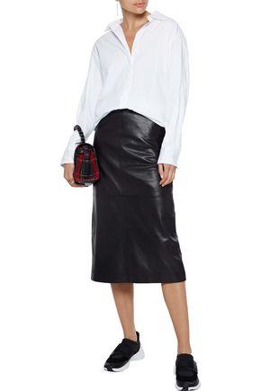 Maje T-shirts MAJE WOMAN GATHERED GROSGRAIN-TRIMMED COTTON-POPLIN SHIRT WHITE