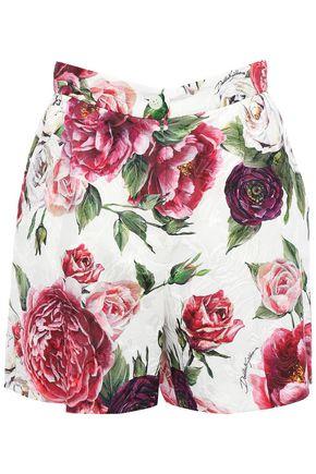 DOLCE & GABBANA Floral-print cotton-blend matelassé shorts