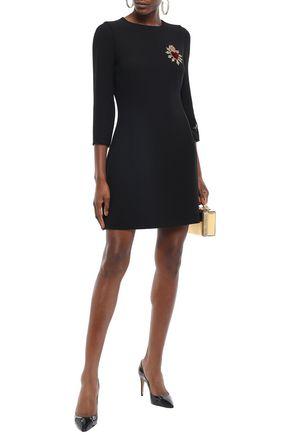 Dolce & Gabbana Dresses DOLCE & GABBANA WOMAN APPLIQUÉD VELVET-TRIMMED WOOL-CREPE MINI DRESS BLACK