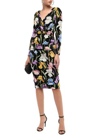 Dolce & Gabbana Woman Ruched Floral-Print Silk-Blend Dress Black
