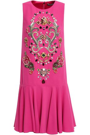 DOLCE & GABBANA Ruffled appliquéd crepe mini dress