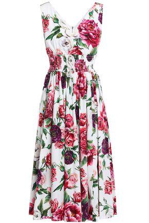 DOLCE & GABBANA Shirred gathered floral-print cotton-poplin midi dress