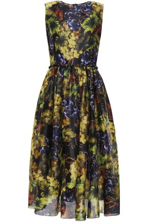 DOLCE & GABBANA Printed silk-organza midi dress