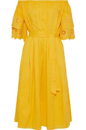 MERLETTE Mimosa off-the-shoulder broderie anglaise cotton midi dress