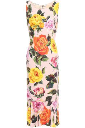 DOLCE & GABBANA Flared floral-print crepe midi dress