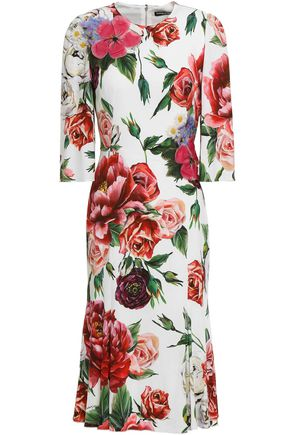 DOLCE & GABBANA Floral-appliquéd crystal-embellished crepe dress