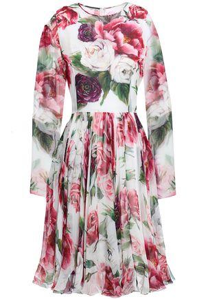 DOLCE & GABBANA Gathered floral-print silk-blend georgette dress