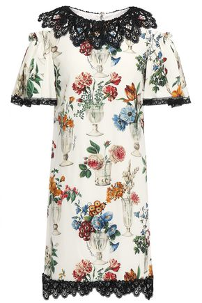 DOLCE & GABBANA Cold-shoulder printed silk-blend crepe de chine mini dress