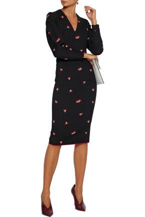 Victoria Beckham Floral-jacquard Dress In Black